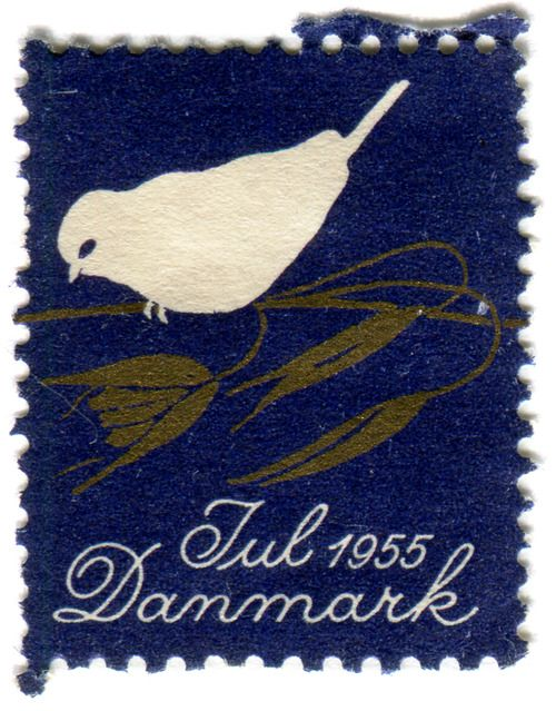 vintage postage stamps, Denmark Christmas seal: bird c. 1955 anyone know...