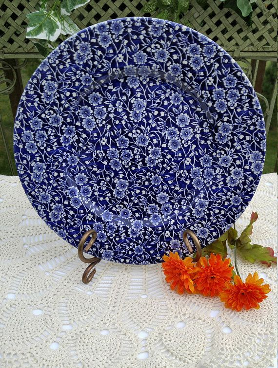 Churchill China Queen S Blue And White Pattern Chintz Transferware Plate Blue And White Vintage Shops