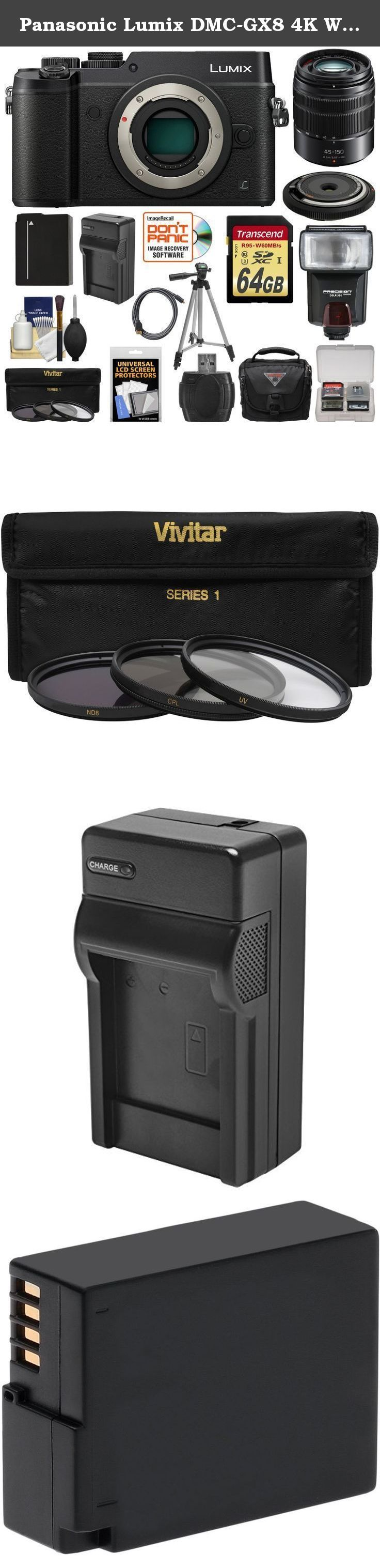 Panasonic Lumix DMC-GX8 4K Wi-Fi Digital Camera Body (Black) with 15mm & 45-150mm Lenses + 64GB Card + Battery + Charger + Case + Flash + Tripod + Kit. Kit includes: ♦ 1) Panasonic Lumix DMC-GX8 4K Wi-Fi Digital Camera (Black) ♦ 2) Panasonic Lumix G Vario 45-150mm OIS Zoom Lens ♦ 3) Olympus 15mm f/8.0 BCL-1580 Body Cap Lens ♦ 4) Transcend 64GB SecureDigital SDXC UHS-3 Memory Card ♦ 5) Spare DMW-BLC12 Battery ♦ 6) Battery Charger ♦ 7) Vivitar 3-Piece HD Filter Set (52mm UV/CPL/ND8) ♦ 8) PD...
