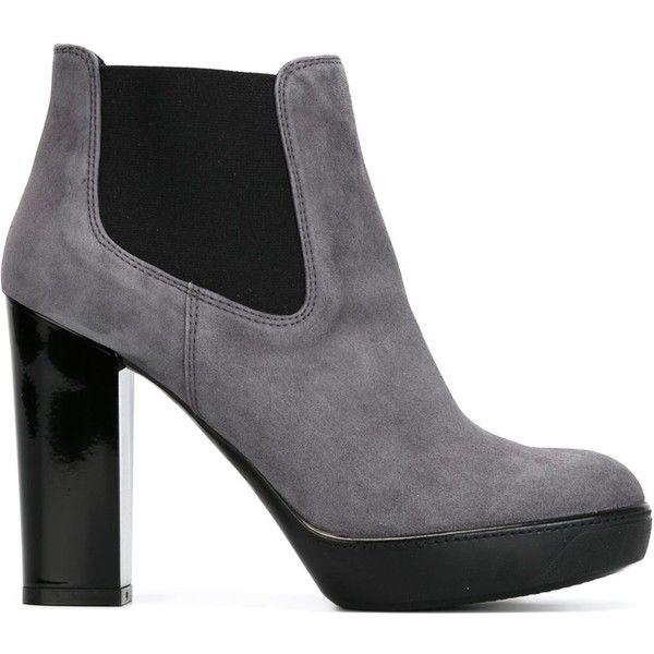 Hogan chunky heel boot ($505) ❤ liked on Polyvore