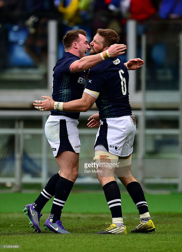 John Barclay of Scotland (r) celebrates scoring his side's first try with Stuart Hogg of Scotland during the RBS Six Nations match between Italy and Scotland at Stadio Olimpico on February 27, 2016 in Rome, Italy.