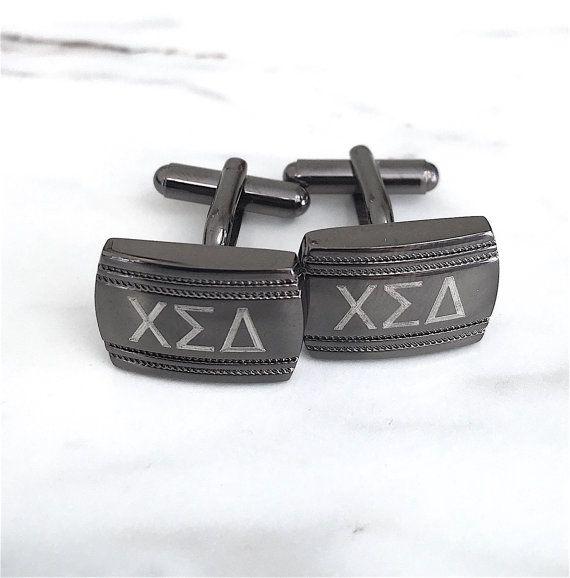 Fraternity Gift, Graduation Gift, Monogram Cufflinks, Custom Engraved Gunmetal Cuff links, Greek Letters, Gifts for Him, College Graduation