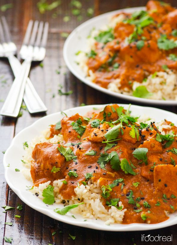 Healthy Crock Pot Butter Chicken Recipe -- Ultimate Indian comfort food made healthier and lighter. Plus nothing beats the convenience of crock pot.