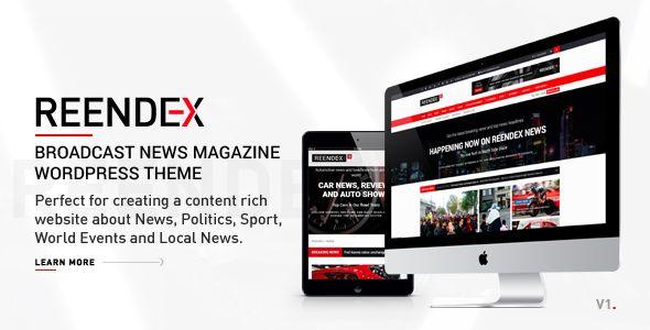 wordpress reendex broadcast news magazine wordpress theme download