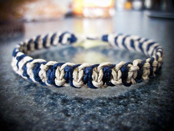 Mens Bracelet Thick Bracelet Hemp Bracelet Dark Blue Bracelet
