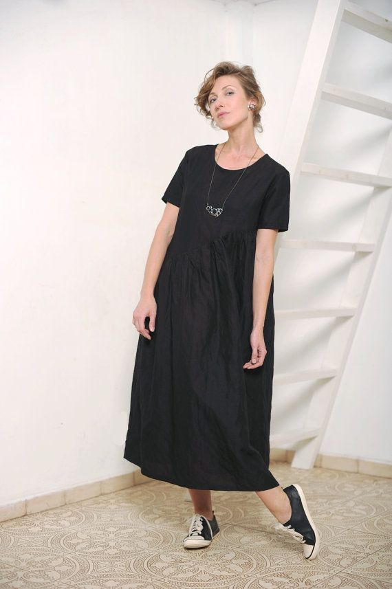 """For this dress I used linen fabric. It is black and has very delicate almost unnoticeable silver shiny effect. The dress has round neckline and gathered diagonal skirt. Total length from the highest shoulder point is approximately 47""""/ 120cm.  It is also available in:  ◦ black lace http://etsy.me/1T7MjqP ◦ blush tencel http://etsy.me/2c4PXIU ◦ scarlet red viscose http://etsy.me/2id5ZhV  ✖ SIZES ✖  ◦ size XS (US 2) ◦ bust: 32.3""""/ 82cm wais..."""