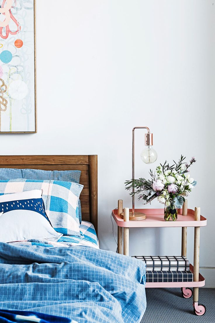 """The guest bedroom is simple and soothing. The bedlinen is from [Kip & Co](http://kipandco.net.au/?utm_campaign=supplier/