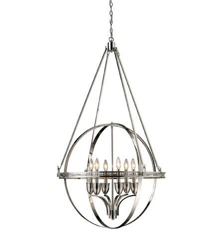 elk hemispheres 6 light 32 inch polished nickel chandelier ceiling light