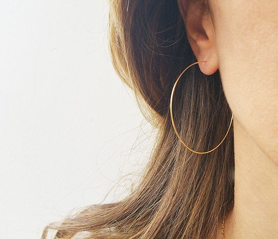 Gold Hoops Earrings Big Wire Earrings 14K Gold by HLcollection