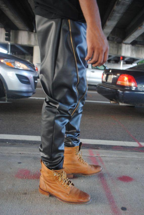Pantalones de cremallera detalle cuero / negro pantalones de