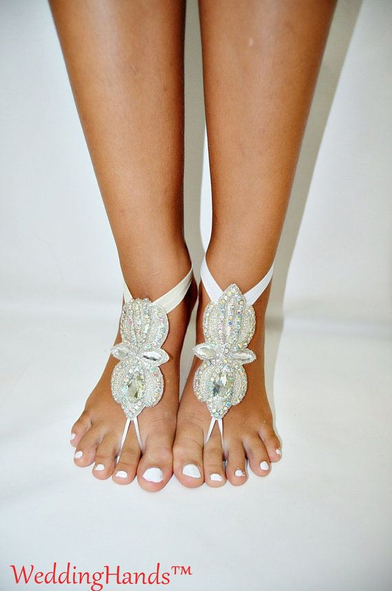 Beaded bridal sandals Beaded bridal Foot Jewelry by WeddingHands
