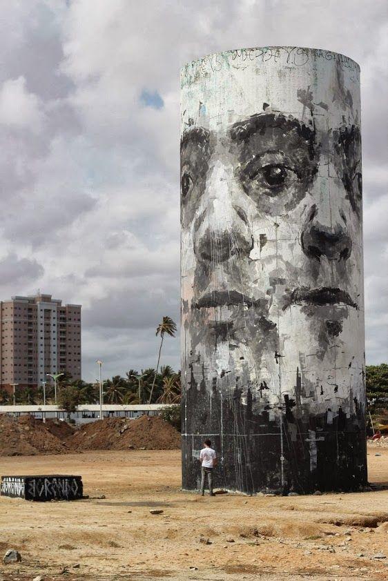 Street art at the beach in Fortaleza, Brazil, by Spanish street artist Borondo. #borondo http://www.widewalls.ch/artist/borondo/