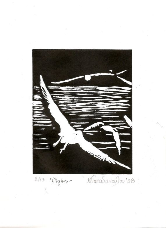 Flights 2,original engraving 21x29cm,