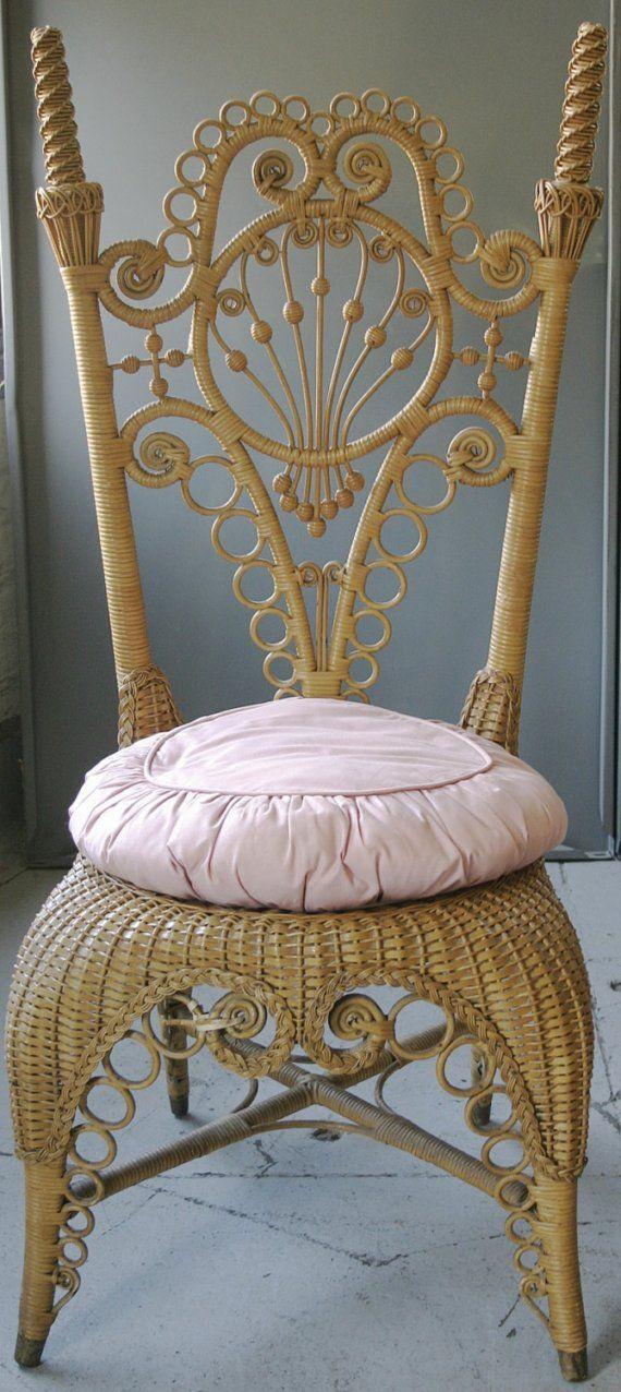 "Victorian Heywood Bros. Wicker Chair ""Manufactured By Heywood Bros of Gardner, Mass."""