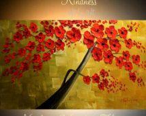 Αφηρημένη ζωγραφική αφηρημένη Πρωτότυπη υπογραφή κοπίδι Κόκκινο ανθών impasto πετρέλαιο ελαιογραφία του Νικολέτ Vaughan Horner