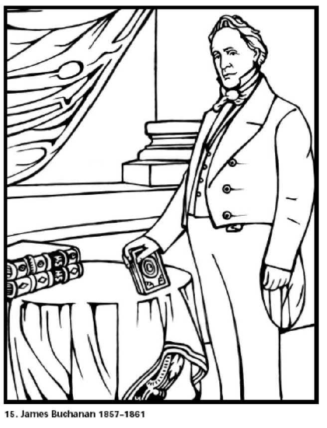 James Buchanan 15th President Of The United States Free Printable Coloring Sheet Click