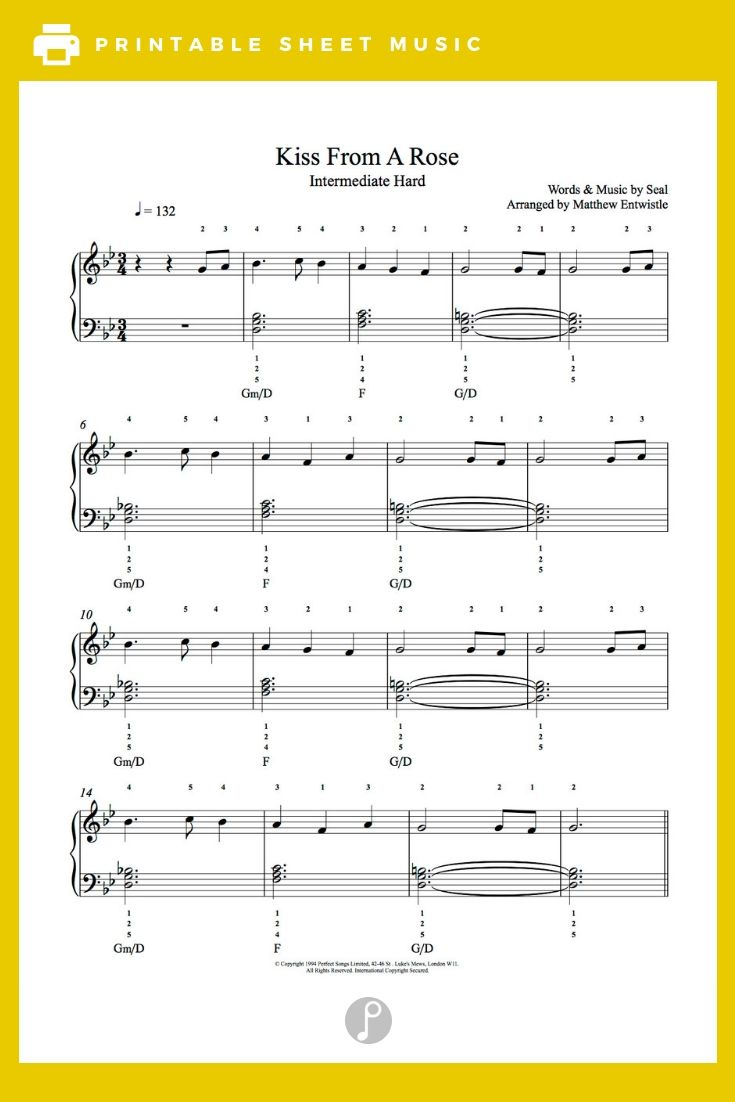 Kiss From A Rose By Seal Piano Sheet Music Intermediate Level