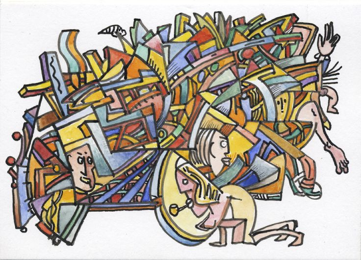 Social Landscape, Pen and ink with water colour