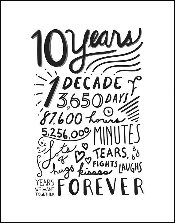 10 Year Anniversary Hand Lettered Art Digital Download 10th