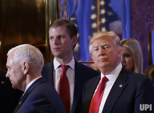 U.S. President-elect Donald Trump exits to the elevators with Vice President-Elect Mike Pense, Ivonka Trump and Eric Trump after he speaks…