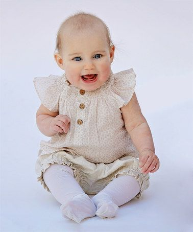 Look what I found on #zulily! Beige Smocked Top & Pants - Infant #zulilyfinds