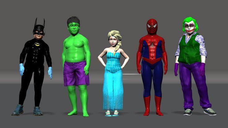 Kids Finger Family Song ft. Spiderman Elsa Batman Joker Hulk