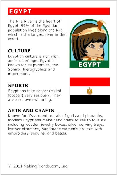 MakingFriends Facts about Egypt Printable Thinking Day fact card for our passports. Perfect if you chose Egypt for your Girl Scout Thinking Day or International Night celebration.