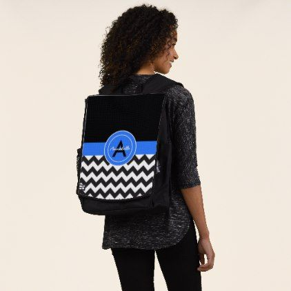 Black Blue Chevron Backpack - monogram gifts unique custom diy personalize