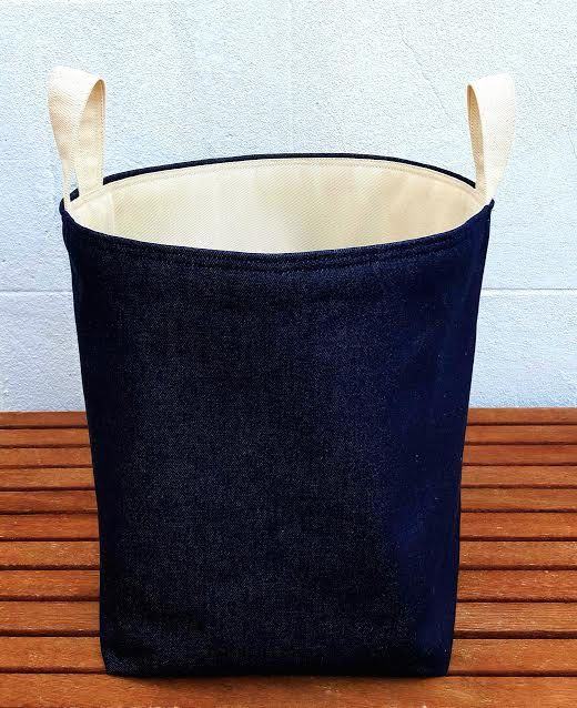 Denim Laundry Bag Large Extra Sy Hamper Navy Blue Natural Canvas Bucket Waste Reversible Handmade Fabric