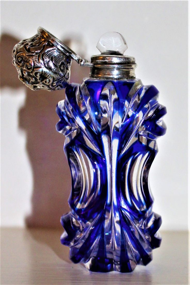 Finely Cut Glass Perfume Bottle with Silver Hinged Top and Bristol Blue Overlay and Deeply Cut Circa 1880