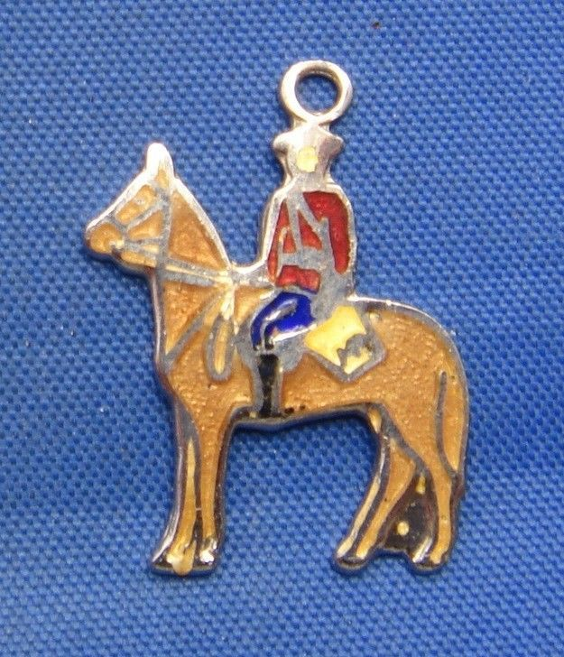 Vintage Silver & Enamel Canadian Mountie on Horse Charm marked  BMCo STERLING