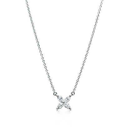 Pendente Tiffany Victoria™ in platino con diamanti, misura piccola.