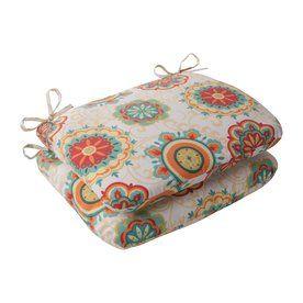 Pillow Perfect Set of 2 Farrington Aqua Patio Chair Cushions