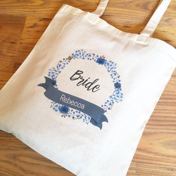 Bride Tote Bag Personalised Bride to Be Bag Name by purpleheartuk