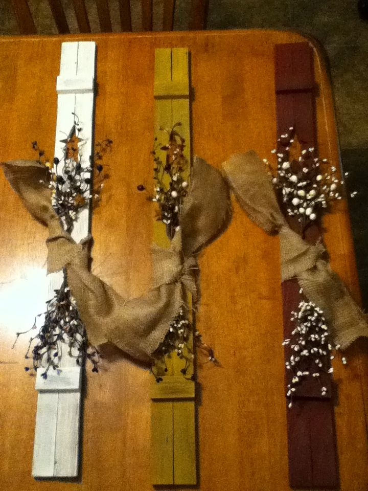 These primitive shutters are easy to make I made some decorated them and put them on each side of my smaller windows and mirror in my basement they make cheap gifts for your friends.