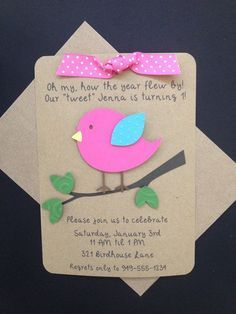 Little Birdie with Ribbon Handmade Invitations Custom Made for Birthday Party or Baby Shower on Kraft Paper, Set of 8 Invites