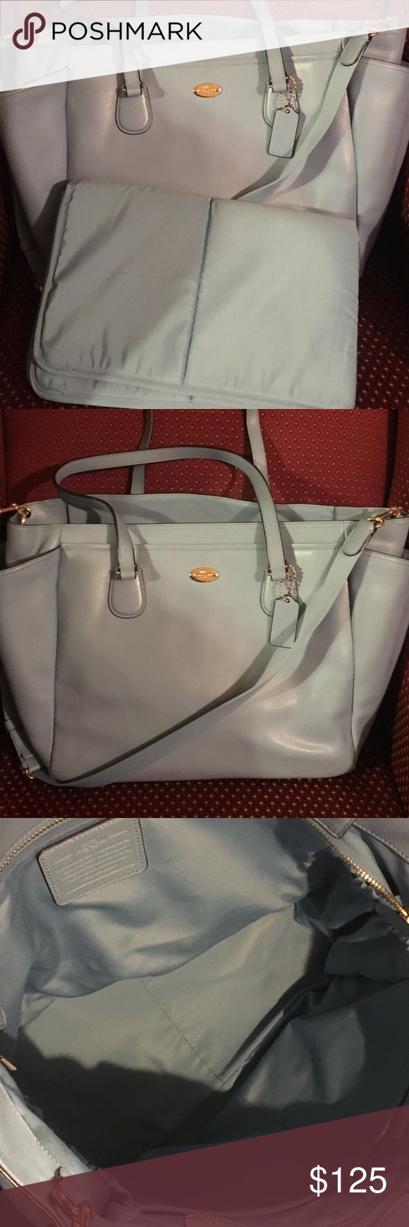 Authentic Coach Diaper bag Authentic Coach light blue all leather diaper bag in excellent condition. With long strap and can be used as a cross body bag. Very clean inside out! Bought this at Macy's for $389. Great buy! ❤️ Coach Bags Baby Bags