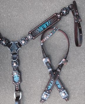 Brown/Turquoise Gator Tack Set with Copper by Running Roan Tack