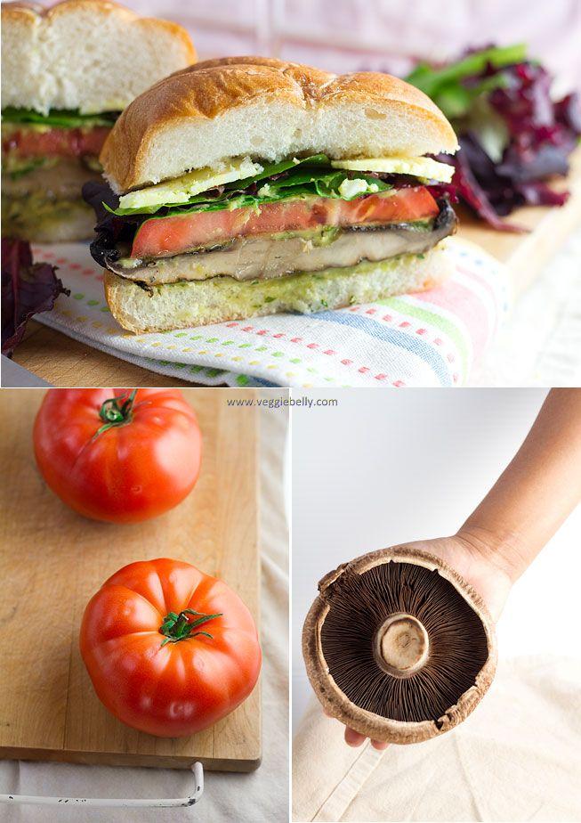 Grilled Portobello Mushroom, Roasted Red Pepper and Mozzarella Sandwich or Burger.