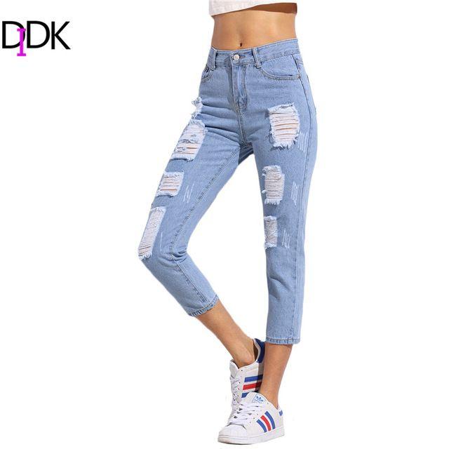 DIDK Senhoras Azul Rasgado Calças Jeans Skinny Meados Cintura Botão Voar Calças Para Mulheres Verão Comprimento do Tornozelo calça Casual calças de Brim