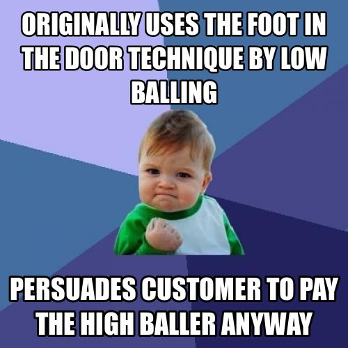 psychology and foot in the door tactic The foot-in-the-door technique is a very commonly used theory of compliance and persuasion in social psychology in this psychologenie article, we will understand the basis of how this theory works and provide examples of the same.