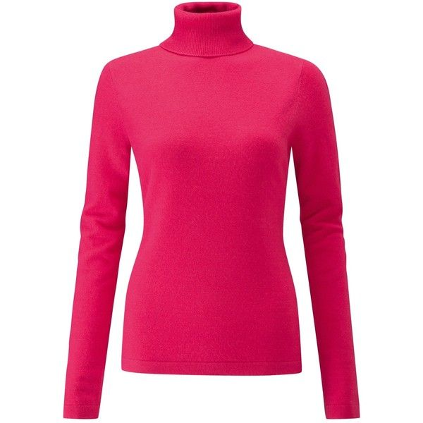 Pure Collection Cashmere Roll Neck Jumper found on Polyvore featuring tops, sweaters, hot pink, ribbed turtleneck, patterned sweater, long sleeve turtleneck, hot pink top and cashmere turtleneck sweaters
