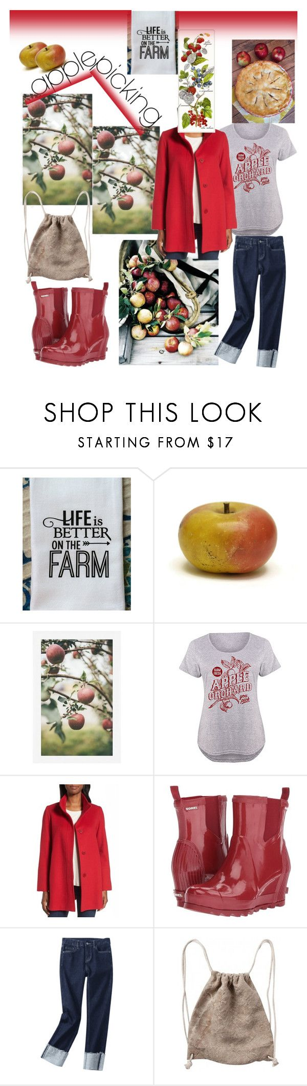 """""""Harvest Time: Apple Picking🍎🍎"""" by mdfletch ❤ liked on Polyvore featuring Pottery Barn, LC Trendz, Fleurette, SOREL, applepicking and plus size clothing"""