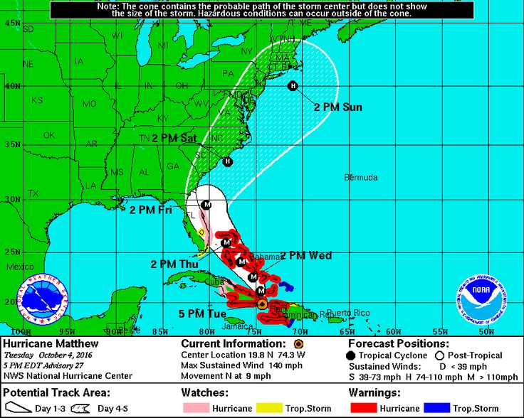 Hurricane warning in Florida after Matthew strikes Haiti as strongest hurricane in 52 years.   Matthew could directly strike Florida Thursday or Friday as a major hurricane.