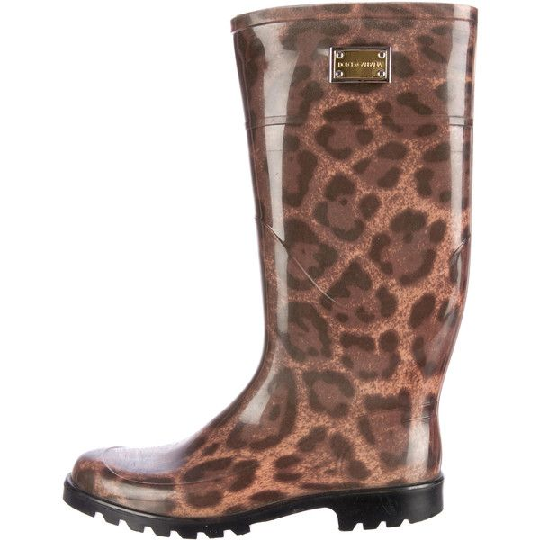 Pre-owned Dolce & Gabbana Rain Boots ($145) ❤ liked on Polyvore featuring shoes, boots, animal print, wellies boots, brown rain boots, patterned rain boots, rubber boots and leopard boots