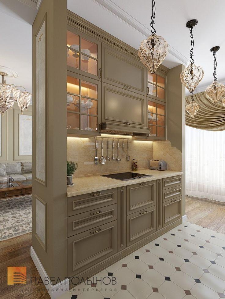 Фото: Интерьер зоны кухни - Трехкомнатная квартира в классическом стиле, ЖК «Дом на Дворянской», 111 кв.м.