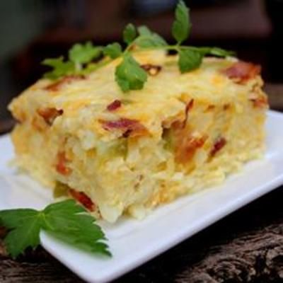 breakfast brunch: layered with potatoes, crunchy bacon, eggs and onion with cheese.