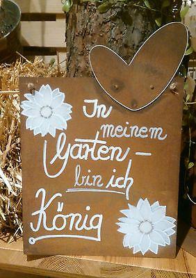 Vintage Edelrost Tafel K nig Spruch Garten Metall Tafel Rost Schild Text Blume Deko