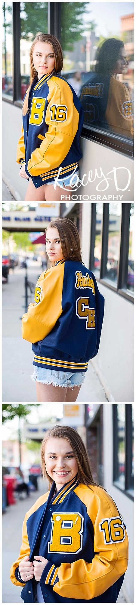 Letterman Jackets in Senior Portraits - Girls - Blue & Gold - Photographer Columbia, MO Senior Portraits Kacey D Photography