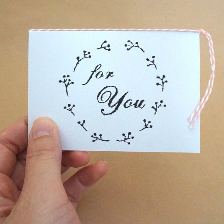 ガリ版印刷グリーティングカード「For You」(アクア)の画像3枚目